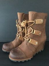 SOREL BROWN JOAN OF ARCTIC WEDGE II LEATHER BOOTS SIZE 9 EUC