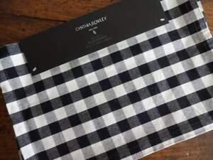 CYNTHIA ROWLEY BLACK Off White BUFFALO Check PLAID Farmhouse PLACEMATS 4PC
