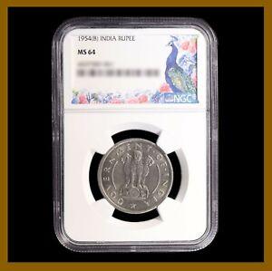 India 1 Rupee Coin, 1954 (B) Bombay NGC MS 64 Wheat Stem Asoka Lion 4437582-061