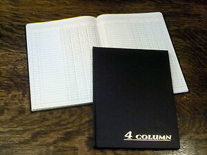 "New, Adams Account Book, 4 Column, 7""x9.25"", Black, 80 Pages (ARB8004M), Ledger"