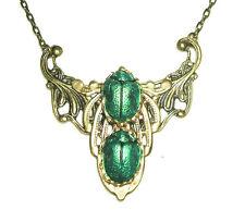 SCARAB Necklace Antiqued Bronze Plt EGYPTIAN REVIVAL Metallic Green Beetle