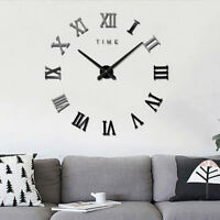 Modern DIY Roman Numerals Wall Clock 3D Mirror Sticker Home Room Decor Black