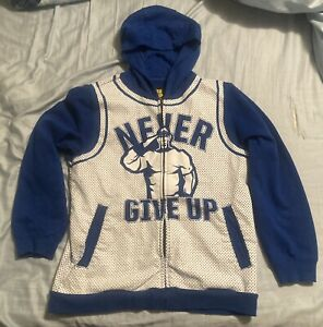 WWE John Cena Never Give Up Full Zip Hoodie Blue / White Size Small (S)