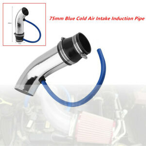 Car SUV Exterior 75mm Blue Cold Air Intake Induction Pipe Kit Filter Tube System