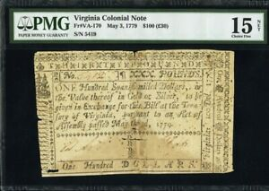 Virginia Colonial Currency Fr#VA-170 May 3, 1779 $100 PMG 15 *Scarce Large Note*