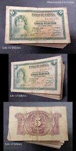 B-D-M España Lote 10 Billetes 5 Pesetas República 1935 Pick 85 RC/BC G/F