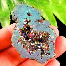 Rainbow Titanium Crystal Agate Druzy Quartz Geode Pendant Bead S00351