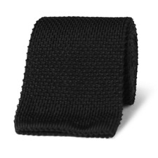 Skinny Knit Tie, Black, 2 Inch Wide Cotton Puentes Denver Denver Brand NT-KNIT-1