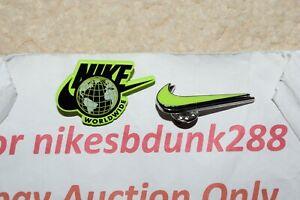 2 Nike Air Force Worldwide NEON GREEN Enamel Pin Double Swoosh Authentic