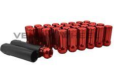 """NEW MODEL RAM 2500 3500 8X6.5 RED SPLINE LUG NUTS M14X1.5 2"""" TALL W/2 KEYS"""