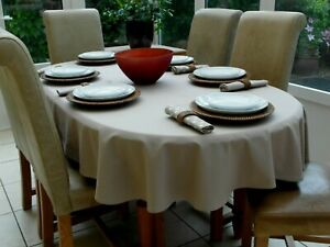 """55x78"""" (140x200cm) TAUPE OVAL COTTON TABLECLOTH - 6 SEATER"""