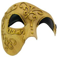 Phantom MASQUERADE Half Face MASK | Mens GOLD Venetian Face Mask | PROM BALL