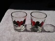 Set of 2 Poker Card Suits Shot Glasses < Clubs, Spades, Diamonds, Hearts >