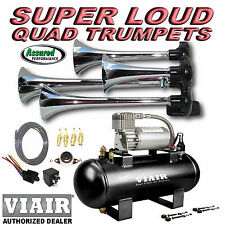 Loud Quad Trumpet Truck Train Air Horn Kit VIAIR 275c 120psi EZ Install System