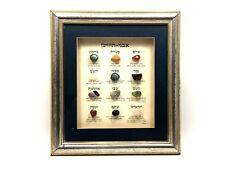 Vintage Priest Breastplate Stones 12 Tribes Hoshen Jewish Gemstone Set Framed