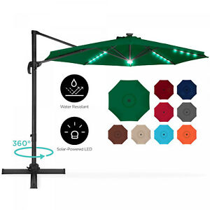 360-Degree LED Cantilever Offset Patio Umbrella w/ Tilt, 10ft