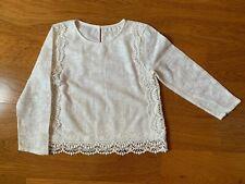 ZARA Kids Girls sz 11/12 152 Cm White Lace Top Long Sleeve Was 39.50$