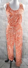 Calvin Klein Womens Sleeveless Fashion Jumpsuit Orange White Printed Jumper Sz 2