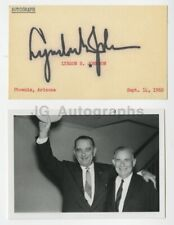 Lyndon B. Johnson - 36th U.S. President - Signed Card with Candid Signing Photo