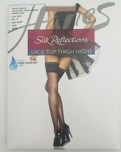 Hanes Silk Reflections Lace Top Thigh Highs, A444, Little Color, Size EF