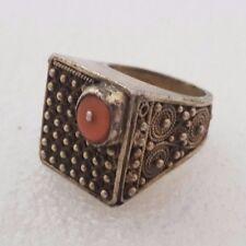 old vintage silver & red coral israel Yemenite filigree rare ring
