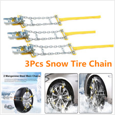 3 PCS Snow Tire Chains For Car SUV Anti-Skid Mn Steel Emergency Winter Driving
