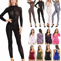 Womens Ladies Sleeveless Bodysuit Leotard Open Crotch Jumpsuit Rompers Top