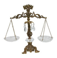Vintage Metal Arm Decorative Scale of Justice With Cut Cystal Plates and Crystal
