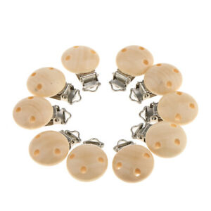 10X Baby Pacifier&Soother Clips Natural Wooden Metal Holders 3 Holes Teat Clips