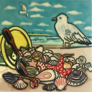 Seagull and Bucket of Shells on Beach Ceramic Tile 8 Inches