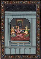 Mughal Handmade Painting Moghul Indian Miniature Harem Folk Watercolor Paper Art