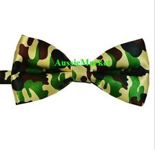1 x mens bow tie ladies bowtie army camouflage green black brown fancy dress new