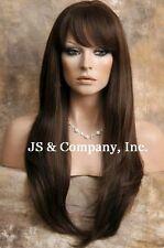 Human Hair Blend Long Straight Light Brown HEAT SAFE Wig WBTO 6