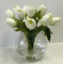 New Faux Artificial Water Flower Arrangement White Large Head Tulip tulips 31cm