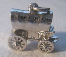 Vintage Wells Sterling Old Western Style Covered Wagon Charm – Wheels Move! 6.4g