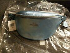 NWT WOMEN'S COACH (F48739) METALLIC ICE BLUE LEATHER BELT BAG HANDBAG  MSRP $298