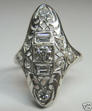 Antique Diamond Engagement Ring Platinum Ring Size 5.75 EGL USA Art Deco Vintage