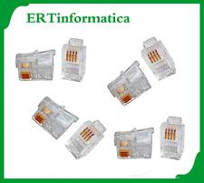 10 X CONNETTORE PLUG TELEFONICO 6P4C MP-6P4C/5 RJ11 FAX TELEFONO