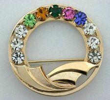 12 Karat Yellow Gold Filled Round Floral Leaf Wreath Pin Vintage 4620