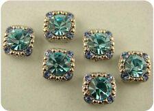 2 Hole Beads GALA with Aqua & Sapphire Swarovski Crystal Elements ~Sliders QTY 6