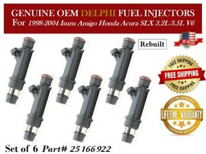 Remanufactured 6X Fuel Injectors OEM Delphi for 1999-01 Isuzu VehiCROSS 3.5L V6