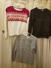 Girls Long Sleeve Sweaters Lot- Qty. 3 -  Size 10/12 - Fall Winter
