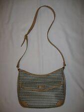 Carryland Handbag Shoulder Purse Green & Tan Gingham Check Tan Trim Medium Size