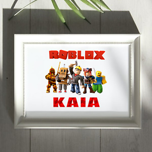 Personalised Roblox gaming themed wall art print. NO FRAME. many colour options