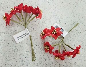 12 red wired mini poinsettia flowers - for Xmas cakes, favours, buttonholes etc