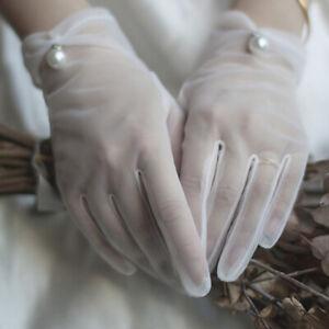 Wedding Bride Gloves White Translucent Woman Gloves Summer Sun Protector Glo_SG