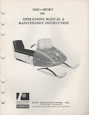 1967 ? Rupp Snowmobile Sno-Sport 300 Operations ,Maintenance Manual (956)