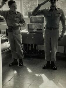 Vintage Photo 1960s US ARMY Military SOLDIERS SALUTE POSED BARRACKS HANDSOME