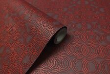 Burgundy & Red, Retro Circles, Paste the Wall, Designer Wallpaper by Casadeco