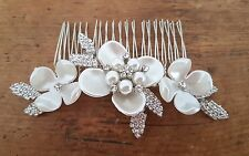 Flower Crystal Diamante Ivory Pearl Side Hair comb Wedding Bridal bridesmaid